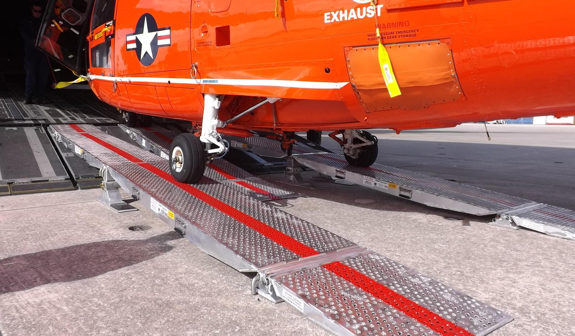 HITRON MH-65 Dolphin on a 2-leg HelMAS w/NLG assembly.